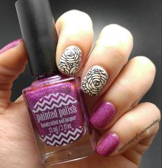 Painted Polish by Lexi Gossip Ghoul stamped using UberChic Beauty plate