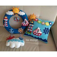 felt pirate ship idea for baby room child Baby Crafts, Felt Crafts, Diy And Crafts, Felt Name Banner, Baby Mobile, Felt Baby, Felt Decorations, Felt Toys, Baby Room Decor