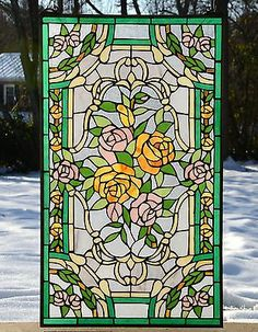 Rose Stained Glass Window Panel