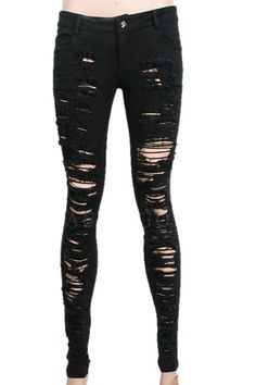 Destroyer black ripped jeans made from black denim with fraying across the front.