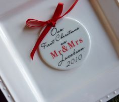 Personalized  Wedding Aniiversary  Gift, Custom Tree ornament with names, date. Ceramic keepsake. $20.00, via Etsy.