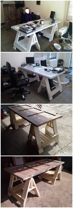 #Door, #PalletDesk, #RecyclingWoodPallets  Office desk from an old door and pallets. Very easy! DIY
