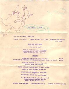 Vintage Halloween Ephemera ~ Halloween Party Menu * Buzzard Broth, Embalming Fluid, Eyeballs Supreme