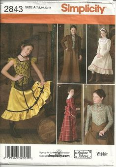 Girls Steampunk Pattern Saloon Girl School Marm Victorian Child Sz 7 8 10 12 14.