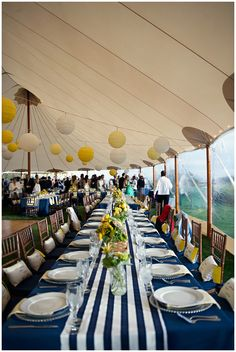 preppy yacht club wedding with yellow and navy blue colors!  So fun!