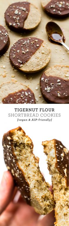 These buttery-sweet Tigernut Flour Shortbread Cookies are grain and nut free plus super simple to make and extra decadent dunked in a silky carob coating! #vegan #paleo #aip