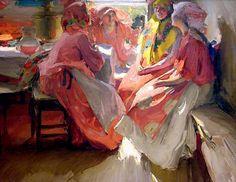 "paintingbox: "" Abram Arkhipov. Visit, 1915. OIl on canvas. 105 x 154 cm """