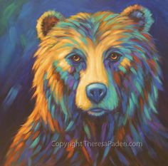"Colorful Wildlife Art By Theresa Paden ""Blue Bear"" 36 x Painted on a gallery-wrapped canvas (no staples) wi. Bear Paintings, Wildlife Paintings, Wildlife Art, Original Paintings, Canvas Paintings, Acrylic Painting Canvas, Canvas Art, Knife Painting, Bear Drawing"