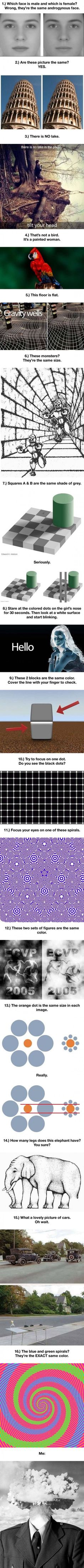 your mind with these optical illusions! Melt your mind with these optical illusions!<< some for me are simply indescribable. :OMelt your mind with these optical illusions!<< some for me are simply indescribable. Weird Facts, Fun Facts, Amazing Science Facts, Funny Mind Tricks, Cool Optical Illusions, Illusions Mind, Funny Illusions, Magic Illusions, Optical Illusions Brain Teasers