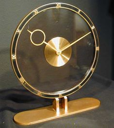 Kienzle Art Deco Bronze & Black Clock c. 1935 Germany