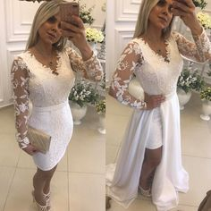 Chic White Beading Prom Dresses with Detachable Skirt Vestidos Color Perla, Bridesmaid Dresses, Prom Dresses, Formal Dresses, Formal Prom, Long Sleeve Evening Gowns, White Dress, Lace, Outfits