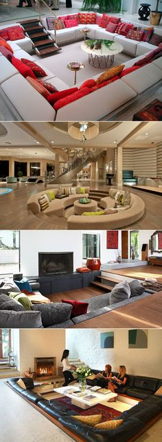 Home Discover Sunken sitting area ideas - Small Space Interior Design, Home Room Design, Dream Home Design, Modern House Design, Interior Design Living Room, Living Room Decor, Bedroom Decor, Dream Rooms, Home Decor Furniture