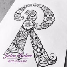 "Digital Coloring Page - Letter R from ""Letter Doodles"" Coloring Book Easy Mandala Drawing, Doodle Art Drawing, Mandala Art, Tattoo Lettering Fonts, Doodle Lettering, Creative Lettering, Typography, Hand Illustration, Ink Illustrations"