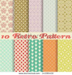 10 Retro different vector seamless patterns (tiling). Endless texture can be used for wallpaper, pattern fills, web page background,surface ...