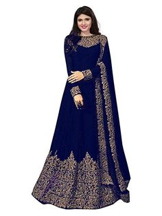 Navy Blue Georgette Embroidered Semi-Stitched Ethnic Gown Color : Navy Blue F. Anarkali Gown, Lehenga Choli, Veni Vidi Vici, Ethnic Gown, Silk Gown, How To Dye Fabric, Festival Wear, Saree Collection, Pattern Fashion