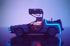 ArtStation - Voxel Delorean time machine BTTF part II, Sergey Orlyansky Delorean Time Machine, Dmc Delorean, Pixel Art Games, Map Games, 3d Pixel, Minecraft, 8bit Art, Movie Tees, Cyberpunk Art