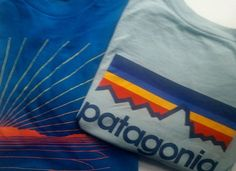 PATAGONIA 2 - Logo T-shirts  Men's Large Blues #Patagonia #LOGO