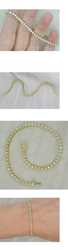 Diamond 10976: 3.00 Carat Round Diamond Tennis Bracelet In 14K Yellow Gold Over 7 -> BUY IT NOW ONLY: $255.98 on eBay!
