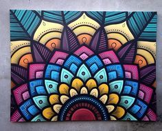 Spray painted colorful mandala artwork on wall Mandala Drawing, Mandala Painting, Diy Painting, Mandala Artwork, Mural Art, Wall Murals, Wall Art Designs, Design Art, Doodle Art
