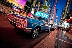 """LED Lighted NYC Times Square with Classic Chevrolet Car Canvas Wall Art 15.75"""""""" x 23.5"""""""""""