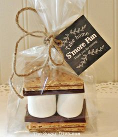 """Take Home S""""MORE FUN with our darling little S'mores Favor Kits. Your party guest will love these cute treats..!"""