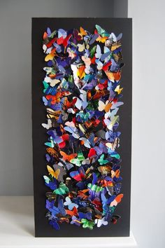 Make your own paper butterfly art! Origami Butterfly, Butterfly Template, Butterfly Wall Art, Paper Butterflies, Butterfly Crafts, Crown Template, Butterfly Mobile, Heart Template, Flower Template