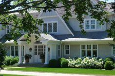 Hydrangea and evergreen landscaping - Hamptons Garden