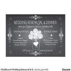 Chalkboard Wedding Rehearsal & Dinner Mason Jar 5x7 Paper Invitation Card