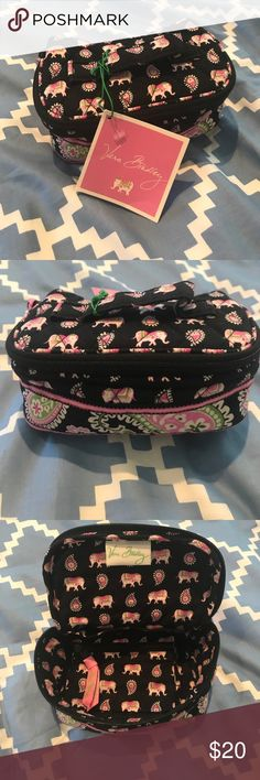 Vera Bradley Jewelry or makeup bag - NWT Black with pink, green and white elephants. Inside pockets and pouches. Perfect size. Never been used.  Vera Bradley Bags