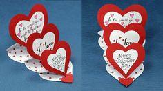 DIY Valentine Card - How to Make Triple Easle Heart 'I Love You' Card
