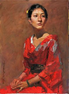 How to paint a portrait - a step-by-step process for Girl in Kimono - Yim Maukun