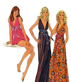 McCalls 3062 1970s  Easy Misses Panties and Empire Waist Nightgown Womens Vintage Sewing Pattern by mbchills