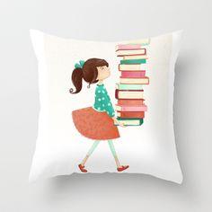 Library Girl Throw Pillow