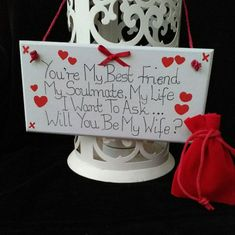 Wooden Proposal Plaque With Original Rhyme And A Red Velvet Ring Pouch. Hand painted wooden hanging wall plaque for all the romantic men and women out there who want a unique way to propose to their loved one. The handwritten words say.. Youre My Best Friend My Soulmate My Life I #howtogethimtopropose Cute Proposal Ideas, Romantic Proposal, Romantic Weddings, Romantic Men, Suprise Proposal, Proposal Photos, Best Proposals, Wedding Proposals, Marriage Proposals