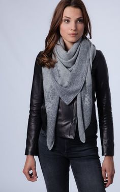 Printed grey cashmere shawl by REPEAT
