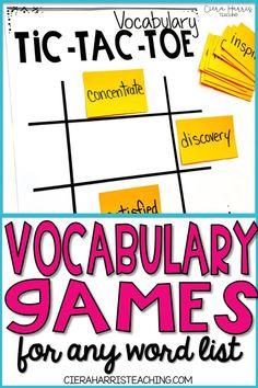 Vocabulary Games For Kids, Kindergarten Vocabulary, Vocabulary Strategies, Vocabulary Instruction, Academic Vocabulary, Vocabulary Practice, Vocabulary Cards, In Kindergarten, Teaching Vocabulary Activities