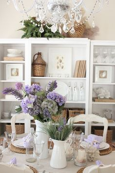 Lavender accents filled the cottage for spring | Starfish Cottage