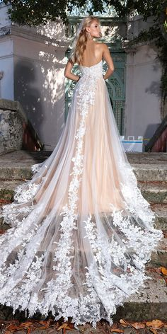 ashley justin bride wedding a line floral lace low back with train