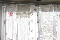 Vintage Curtain Variety (This is a great idea for those of us who cannot choose one pretty thing over another. Why not group similar curtains on a rod to showcase the singular beauty of each? I like it! This idea is from Live Renewed blog.)