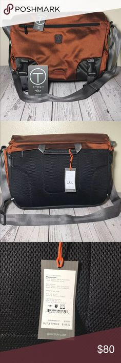 "T-tech Tumi messenger laptop bag shoulder Brand new with tags  T-tech by Tumi  Messenger laptop bag  No rips or stains!  Fits 8.25"" x 13.25"" laptop  Nylon polyester mix material  Pockets for pens notebooks tablets binder etc  2 clips for securement and over the shoulder belt Tumi Bags Messenger Bags"