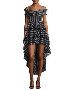 Artemis+Off-the-Shoulder+Striped+High-Low+Dress+by+Caroline+Constas+at+Bergdorf+Goodman.