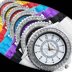 Cheap feminino, Buy Quality feminino relogio Directly from China Suppliers:Hot Sales Geneva Brand Silicone watch women ladies men Crystal Dress Quartz Wrist Watches Relogio Feminino Sport Watches, Watches For Men, Black Watches, Crystal Dress, Rubber Watches, Citizen Watch, Watch Sale, Quartz Crystal, Rolex Watches