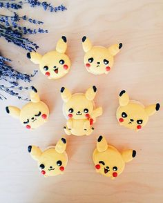 UPDATE: 5:45 pm- We are SOLD OUT for the day. Thank you ❤️ The various expressions of our #Pikaron. #honeyandbutter #macarons #pikachu