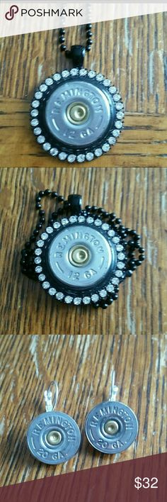 necklace and earrings shotgun style beautiful with some bling and actual caps used.  24 inch chain Remington  Jewelry
