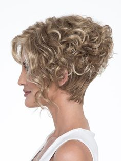 Wig features: Open Top As if the asymmetric, angled styling didn't add enough drama to this fashion-forward bob, Kelsey's long, lustrous curls make this wig a true show stopper. Asymmetrical Hairstyles, Curly Bob Hairstyles, Fringe Hairstyles, Older Women Hairstyles, Feathered Hairstyles, Short Curly Hair, Hairstyles With Bangs, Short Hair Cuts, Short Pixie