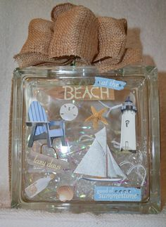 This is a beautiful Glass Block 8x8x3 featuring At the BEACH in 3D stickers with…