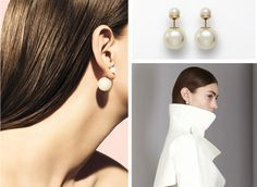 Boucle d'oreille double perle dior