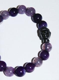 Purple Beaded Buddha Bracelet via Etsy