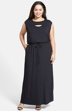 Sejour Cutout Detail Jersey Maxi Dress (Plus Size) available at #Nordstrom