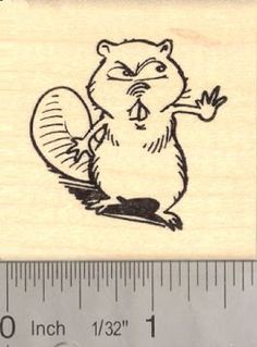 Angry Beaver Rubber Stamp Mascot -- Learn more by visiting the image link.